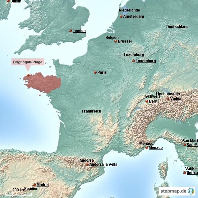 Bretagne karte brignogan